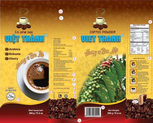Trình bày thông tin trên bao bì cà phê