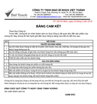 Cam kết của công ty sản xuất bao bì nhựa giá rẻ Việt Thành